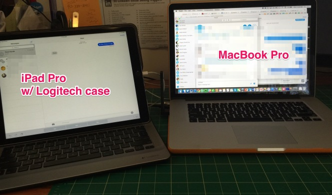 iPad Pro with Logitech case on LEFT and MacBook Pro on the RIGHT